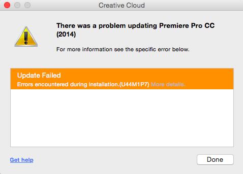Premiere Pro update error