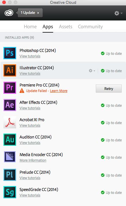Premiere Pro CC update fail